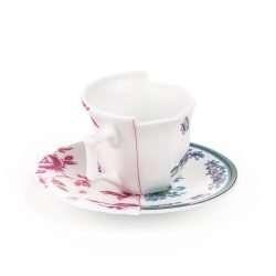 TAZZINA DA CAFFE' CON PIATTINO IN PORCELLANA LEONIA