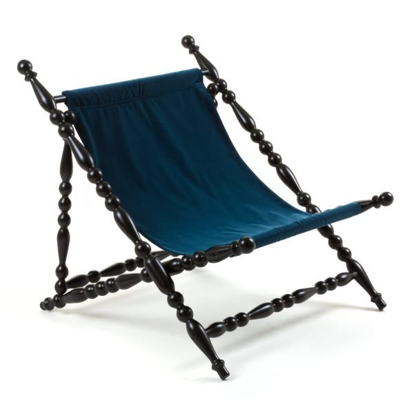 SELETTI HERITAGE FOLDABLE DECKCHAIR BLUE:BLACK 2