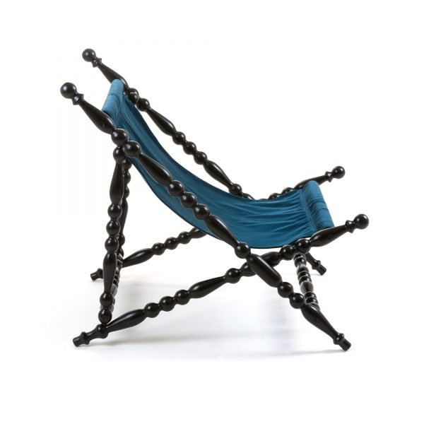 SELETTI HERITAGE FOLDABLE DECKCHAIR BLUE:BLACK 3