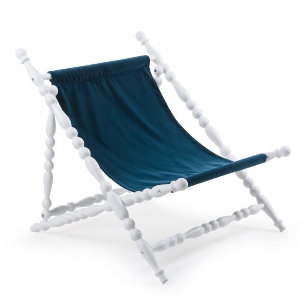 SELETTI HERITAGE FOLDABLE DECKCHAIR BLUE:WHITE 2