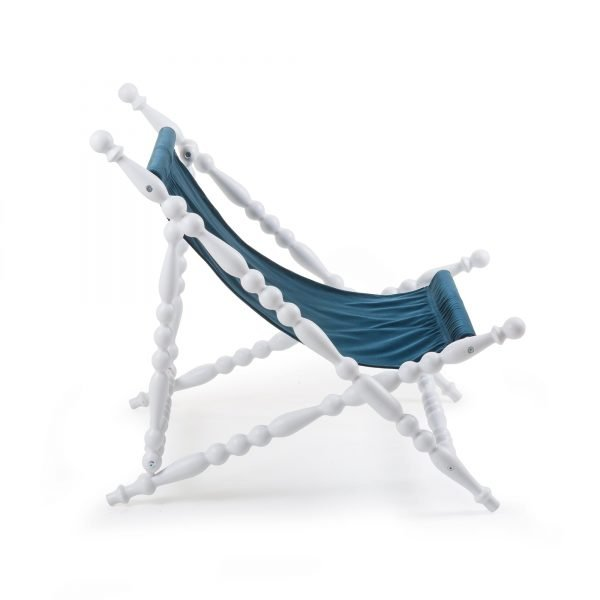 SELETTI HERITAGE FOLDABLE DECKCHAIR BLUE:WHITE 3