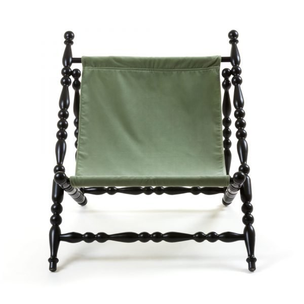 SELETTI HERITAGE FOLDABLE DECKCHAIR GREEN:BLACK 1