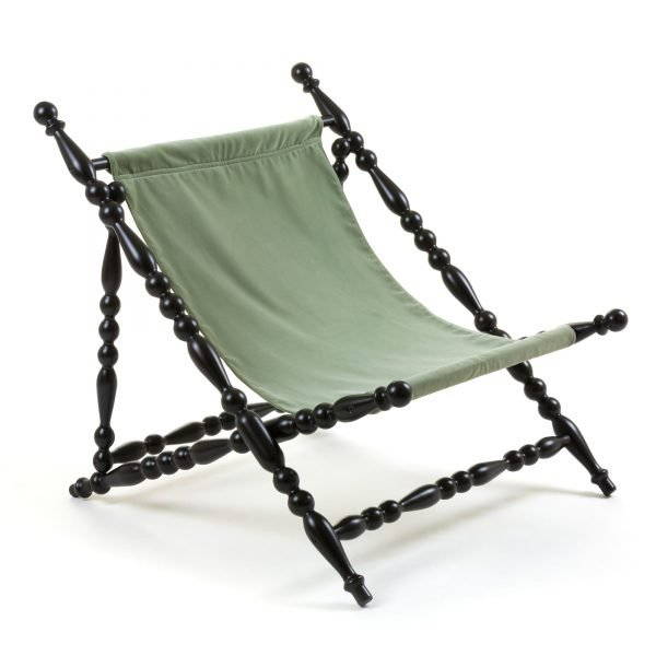 SELETTI HERITAGE FOLDABLE DECKCHAIR GREEN:BLACK 2
