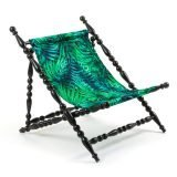 SELETTI HERITAGE FOLDABLE DECKCHAIR LEAVE BLACK 2