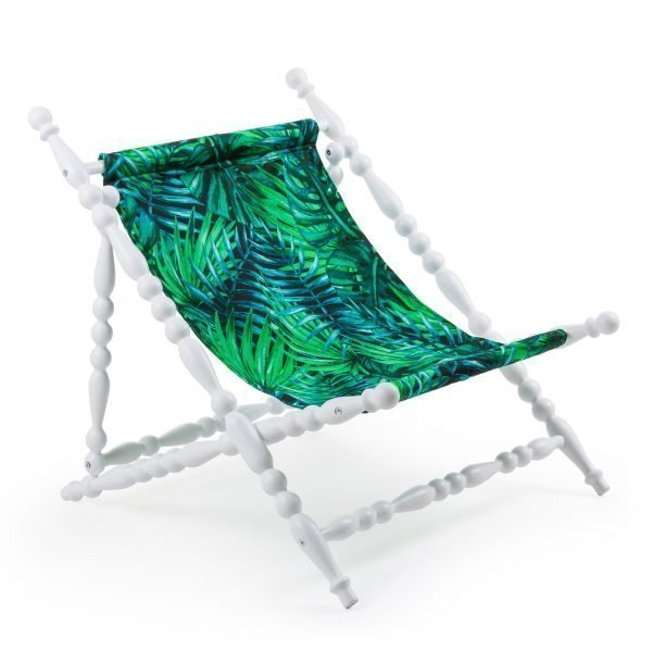 SELETTI HERITAGE FOLDABLE DECKCHAIR LEAVE WHITE 2