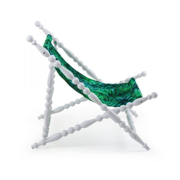 SELETTI HERITAGE FOLDABLE DECKCHAIR LEAVE WHITE 3