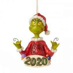 GRINCH HOLDING STRING OF ORNAMENTS